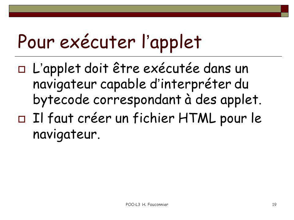 POO-L3 H. Fauconnier19 Pour exécuter lapplet Lapplet doit être exécutée dans un navigateur capable dinterpréter du bytecode correspondant à des applet