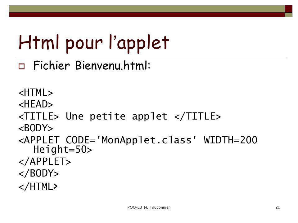 POO-L3 H. Fauconnier20 Html pour lapplet Fichier Bienvenu.html: Une petite applet