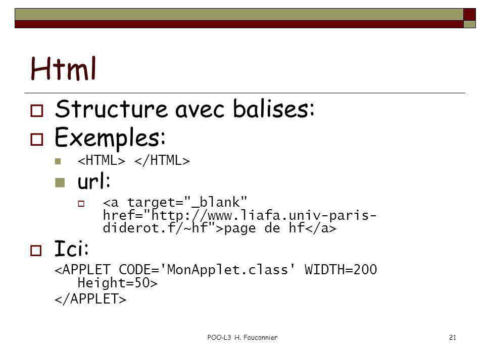 POO-L3 H. Fauconnier21 Html Structure avec balises: Exemples: url: page de hf Ici: