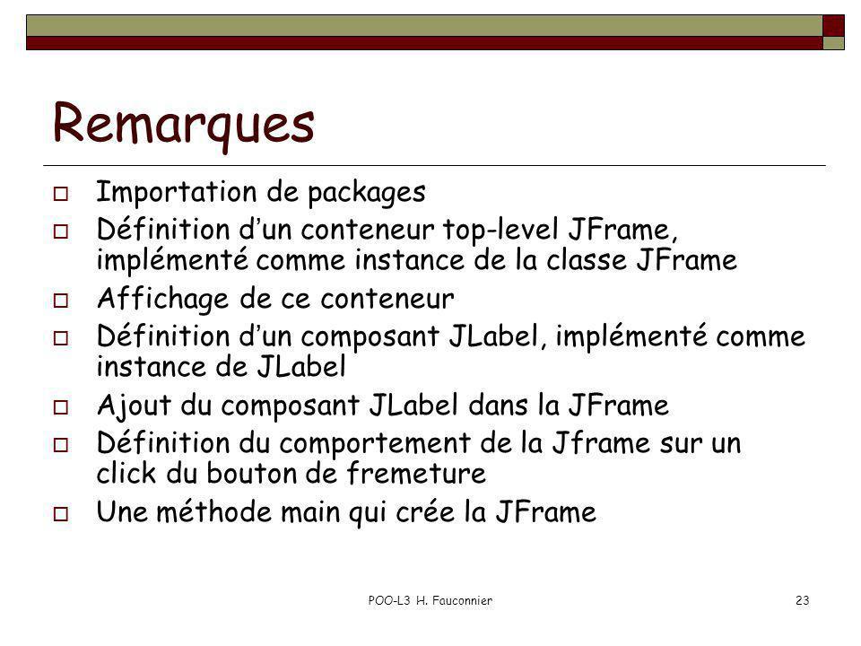 POO-L3 H. Fauconnier23 Remarques Importation de packages Définition dun conteneur top-level JFrame, implémenté comme instance de la classe JFrame Affi