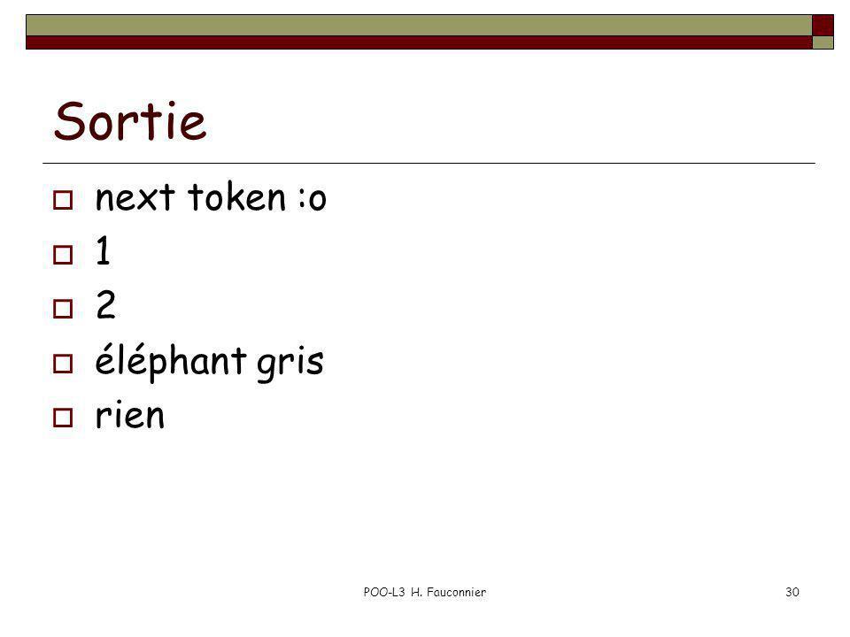 POO-L3 H. Fauconnier30 Sortie next token :o 1 2 éléphant gris rien