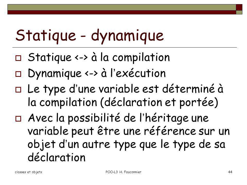 Statique - dynamique Statique à la compilation Dynamique à lexécution Le type dune variable est déterminé à la compilation (déclaration et portée) Ave