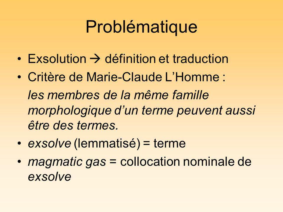 Problématique Exsolution définition et traduction Critère de Marie-Claude LHomme : les membres de la même famille morphologique dun terme peuvent aussi être des termes.