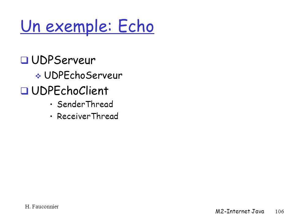 Un exemple: Echo UDPServeur UDPEchoServeur UDPEchoClient SenderThread ReceiverThread H.