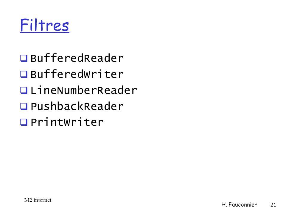Filtres BufferedReader BufferedWriter LineNumberReader PushbackReader PrintWriter M2 internet H.