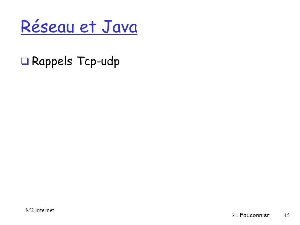 Réseau et Java Rappels Tcp-udp M2 internet H. Fauconnier 45