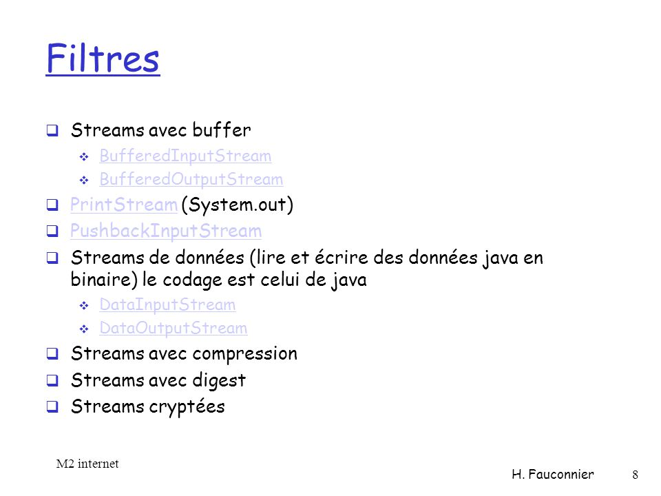 Filtres Streams avec buffer BufferedInputStream BufferedOutputStream PrintStream (System.out) PrintStream PushbackInputStream Streams de données (lire et écrire des données java en binaire) le codage est celui de java DataInputStream DataOutputStream Streams avec compression Streams avec digest Streams cryptées M2 internet H.
