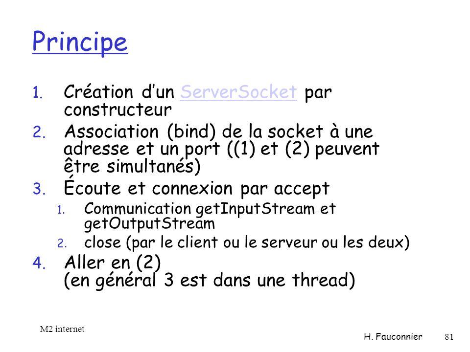 Principe 1. Création dun ServerSocket par constructeurServerSocket 2.