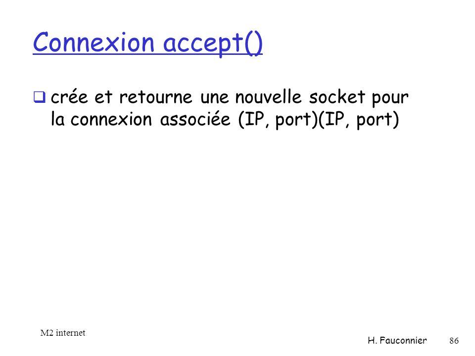 Connexion accept() crée et retourne une nouvelle socket pour la connexion associée (IP, port)(IP, port) M2 internet H.