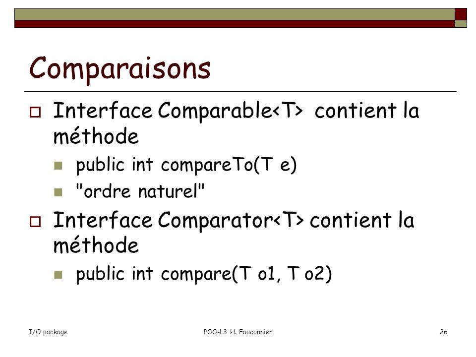 I/O packagePOO-L3 H. Fauconnier26 Comparaisons Interface Comparable contient la méthode public int compareTo(T e)