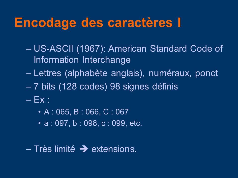 –US-ASCII (1967): American Standard Code of Information Interchange –Lettres (alphabète anglais), numéraux, ponct –7 bits (128 codes) 98 signes défini