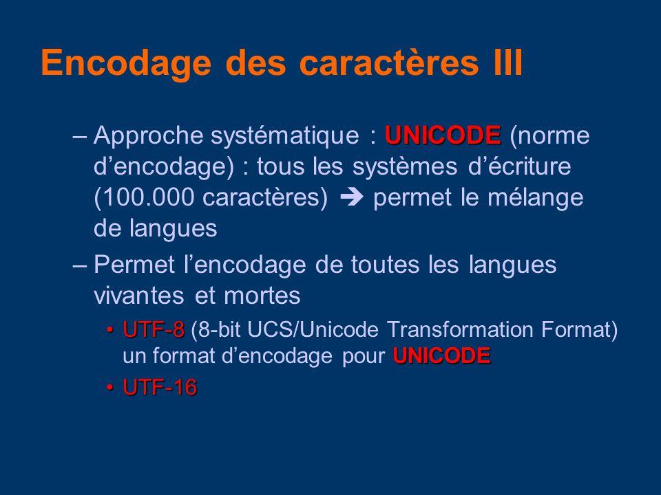 UNICODE –Approche systématique : UNICODE (norme dencodage) : tous les systèmes décriture (100.000 caractères) permet le mélange de langues –Permet lencodage de toutes les langues vivantes et mortes UTF-8 UNICODEUTF-8 (8-bit UCS/Unicode Transformation Format) un format dencodage pour UNICODE UTF-16UTF-16 Encodage des caractères III