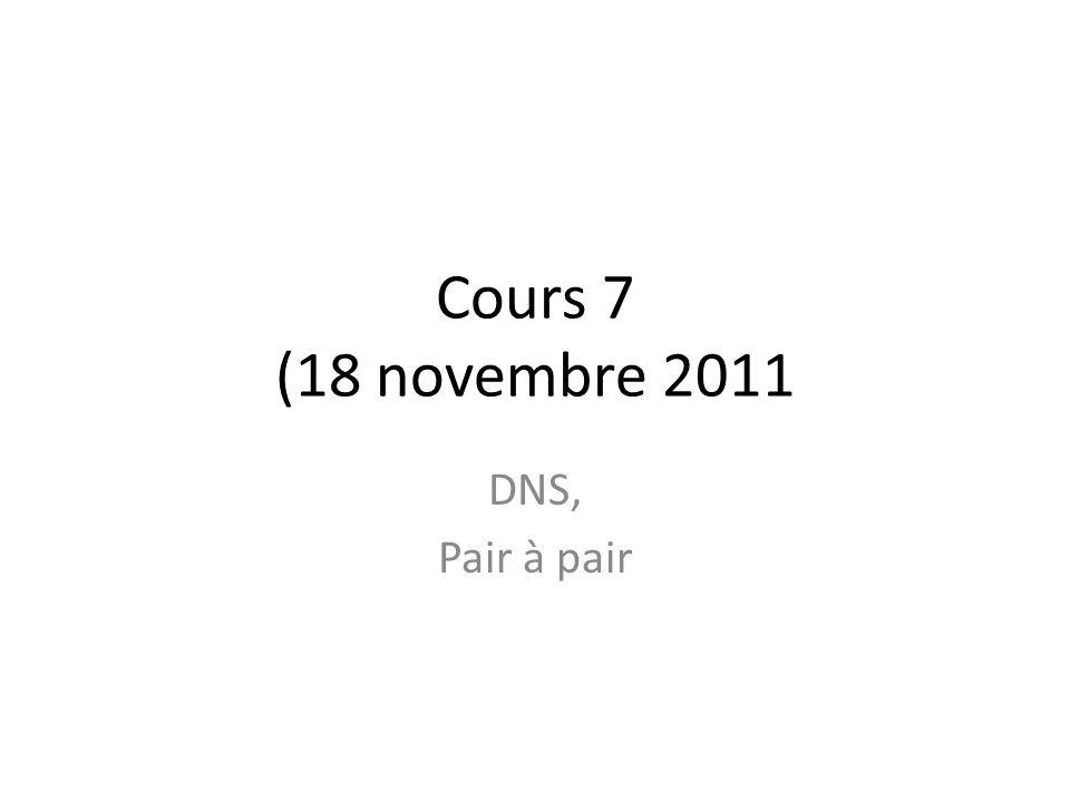Cours 7 (18 novembre 2011 DNS, Pair à pair