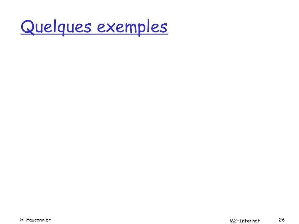 Quelques exemples M2-Internet 26H. Fauconnier