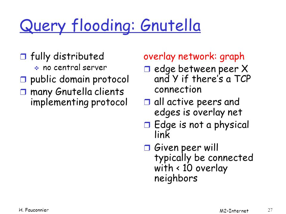M2-Internet 27 Query flooding: Gnutella r fully distributed no central server r public domain protocol r many Gnutella clients implementing protocol overlay network: graph r edge between peer X and Y if theres a TCP connection r all active peers and edges is overlay net r Edge is not a physical link r Given peer will typically be connected with < 10 overlay neighbors H.