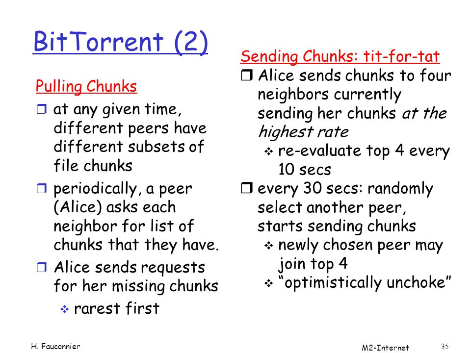 M2-Internet 35 BitTorrent (2) Pulling Chunks r at any given time, different peers have different subsets of file chunks r periodically, a peer (Alice) asks each neighbor for list of chunks that they have.