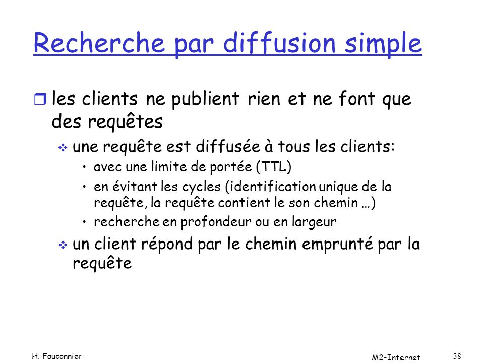 M2-Internet 38 Recherche par diffusion simple r les clients ne publient rien et ne font que des requêtes une requête est diffusée à tous les clients: