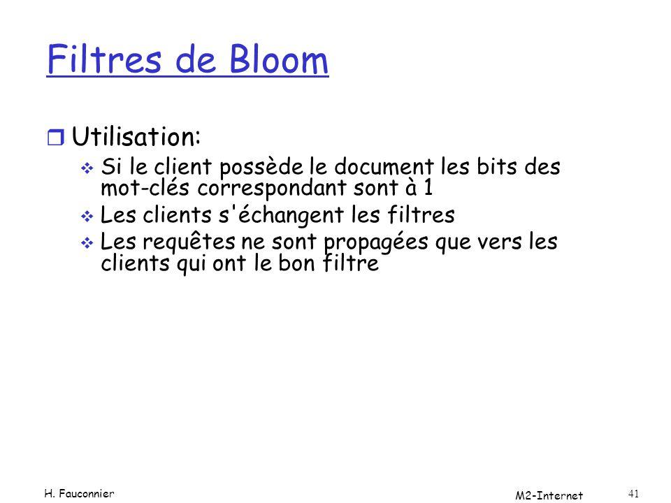 Filtres de Bloom r Utilisation: Si le client possède le document les bits des mot-clés correspondant sont à 1 Les clients s'échangent les filtres Les