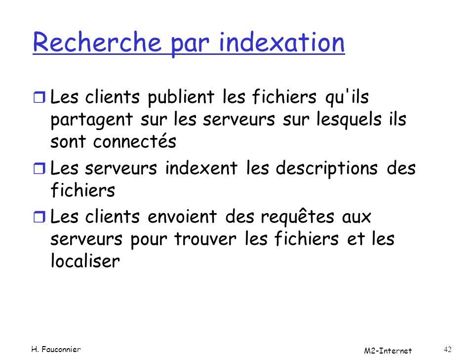 M2-Internet 42 Recherche par indexation r Les clients publient les fichiers qu'ils partagent sur les serveurs sur lesquels ils sont connectés r Les se