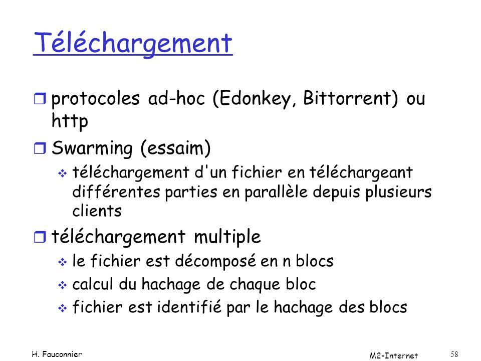 M2-Internet 58 Téléchargement r protocoles ad-hoc (Edonkey, Bittorrent) ou http r Swarming (essaim) téléchargement d'un fichier en téléchargeant diffé