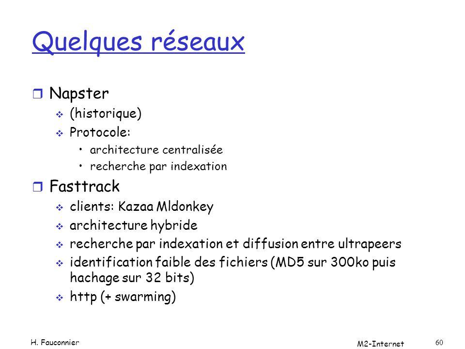 M2-Internet 60 Quelques réseaux r Napster (historique) Protocole: architecture centralisée recherche par indexation r Fasttrack clients: Kazaa Mldonke