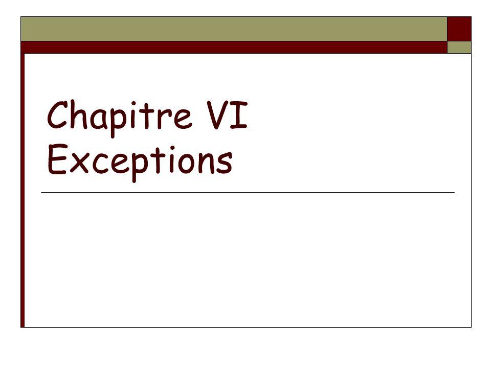 POO-L3 H.Fauconnier10 VI) Exceptions 1. Principes généraux 2.