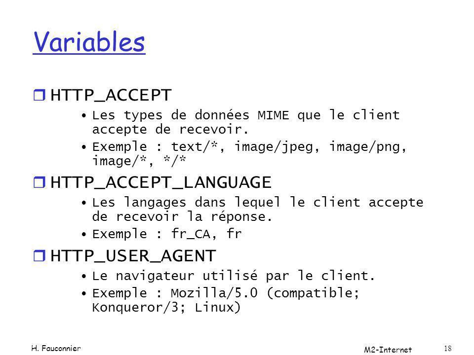 M2-Internet 18 Variables r HTTP_ACCEPT Les types de données MIME que le client accepte de recevoir. Exemple : text/*, image/jpeg, image/png, image/*,