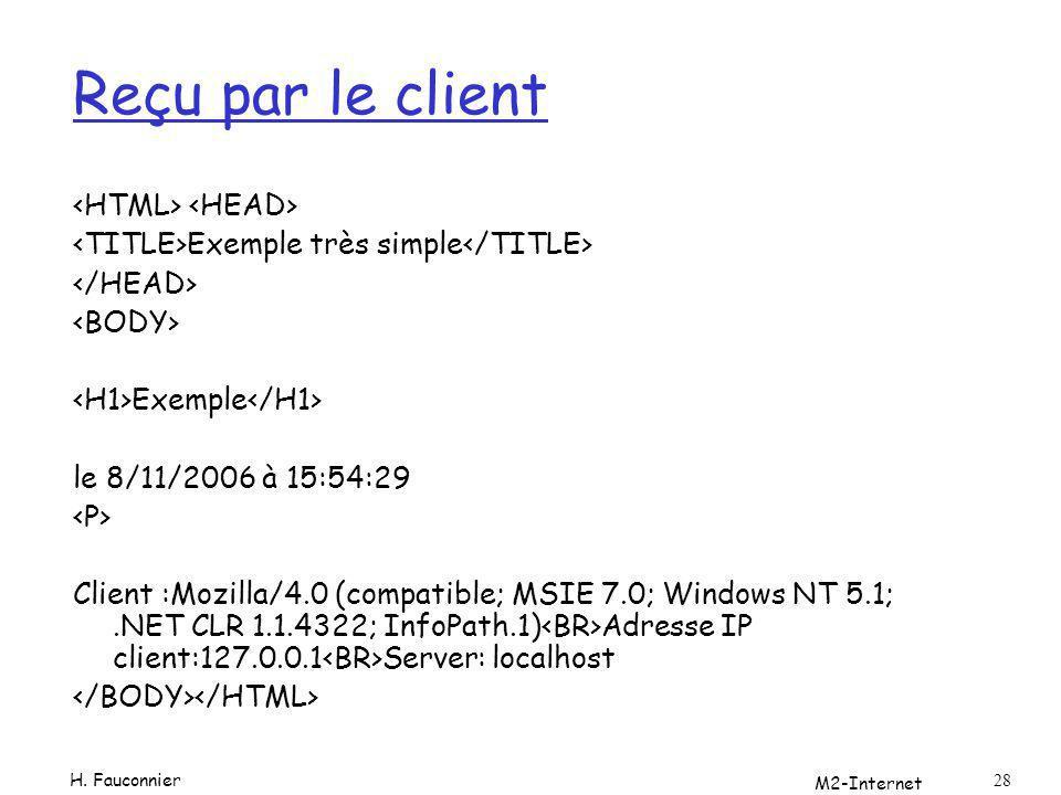 M2-Internet 28 Reçu par le client Exemple très simple Exemple le 8/11/2006 à 15:54:29 Client :Mozilla/4.0 (compatible; MSIE 7.0; Windows NT 5.1;.NET C