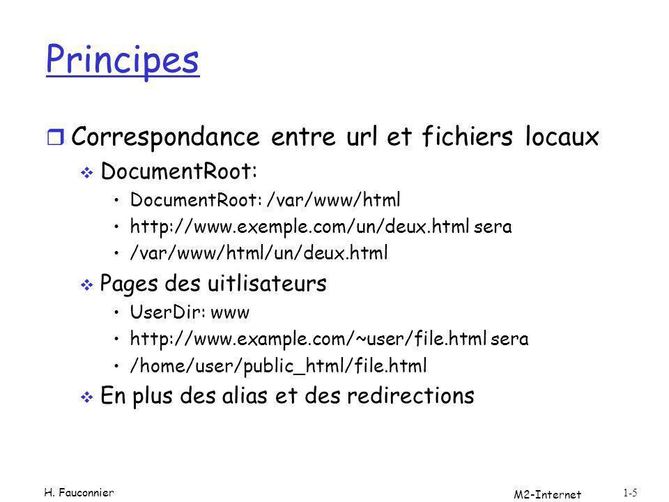 Principes r Correspondance entre url et fichiers locaux DocumentRoot: DocumentRoot: /var/www/html http://www.exemple.com/un/deux.html sera /var/www/ht