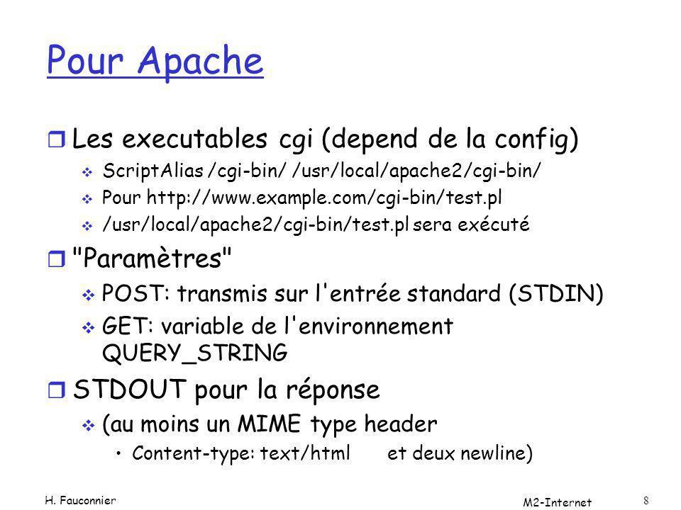 Pour Apache r Les executables cgi (depend de la config) ScriptAlias /cgi-bin/ /usr/local/apache2/cgi-bin/ Pour http://www.example.com/cgi-bin/test.pl