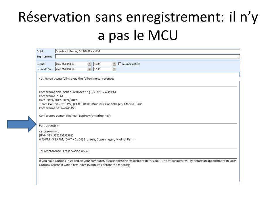 Réservation avec demande denregistrement: le mcu-1 est automatiquement invité en tant que participant