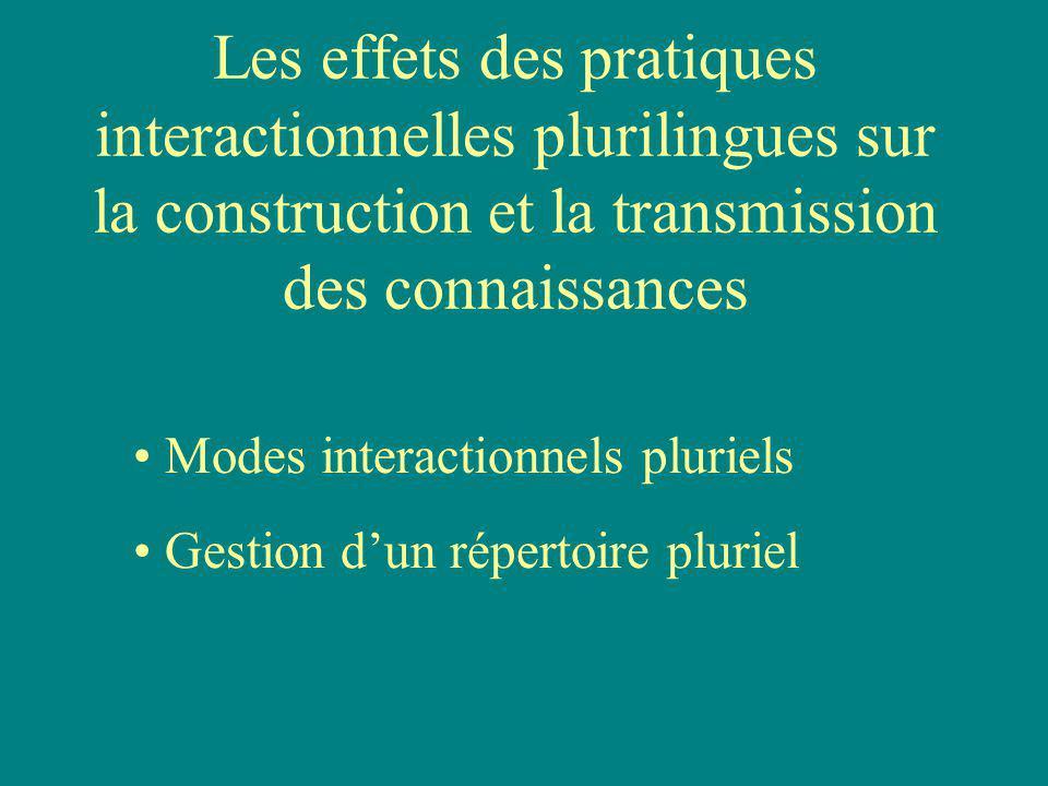 Les effets des pratiques interactionnelles plurilingues sur la construction et la transmission des connaissances Modes interactionnels pluriels Gestion dun répertoire pluriel