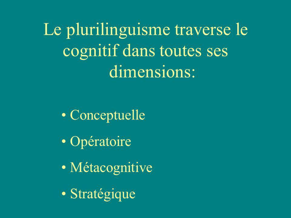 Le plurilinguisme traverse le cognitif dans toutes ses dimensions: Conceptuelle Opératoire Métacognitive Stratégique