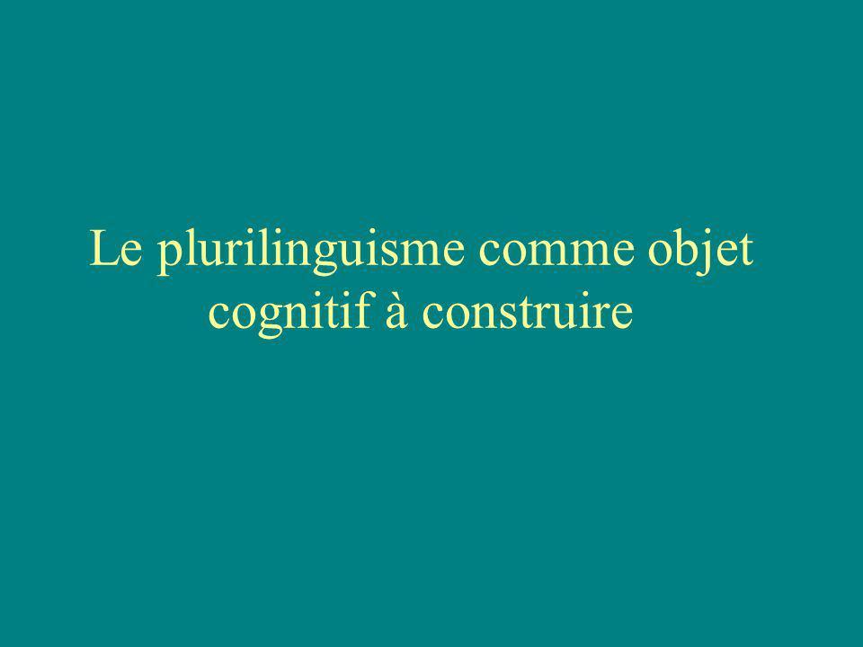 Le plurilinguisme comme objet cognitif à construire