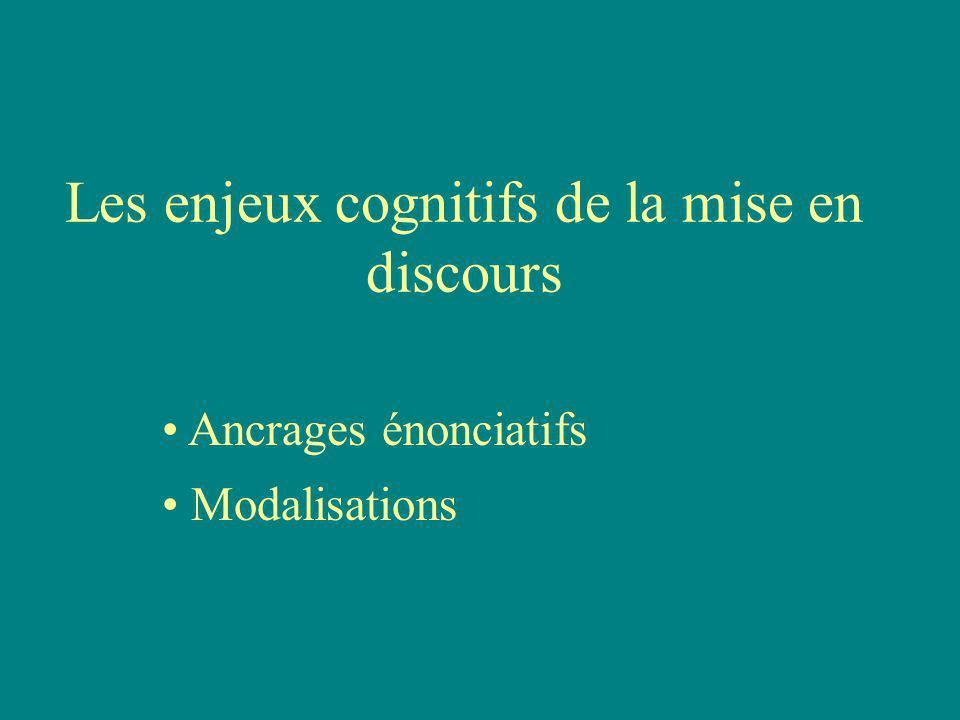 Les enjeux cognitifs de la mise en discours Ancrages énonciatifs Modalisations