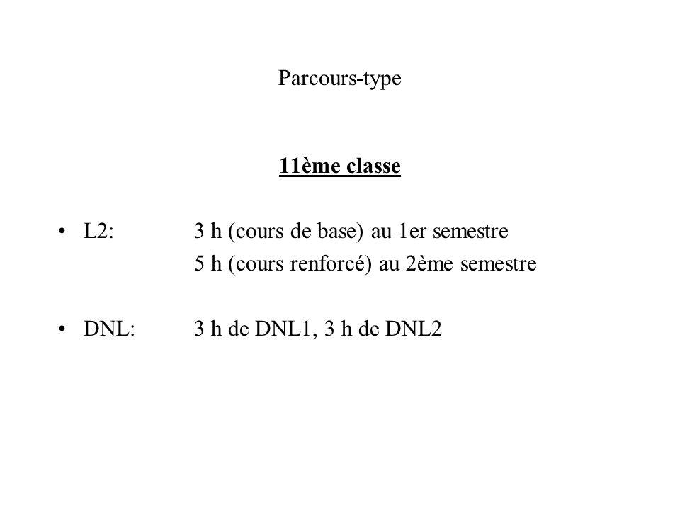 Parcours-type 11ème classe L2:3 h (cours de base) au 1er semestre 5 h (cours renforcé) au 2ème semestre DNL:3 h de DNL1, 3 h de DNL2