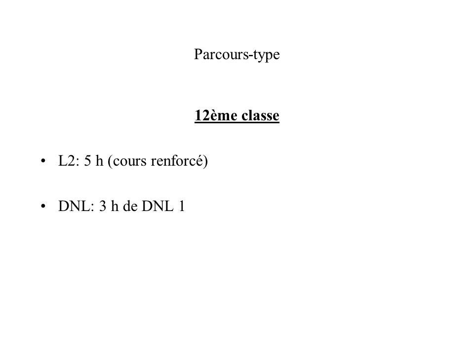Parcours-type 12ème classe L2: 5 h (cours renforcé) DNL: 3 h de DNL 1