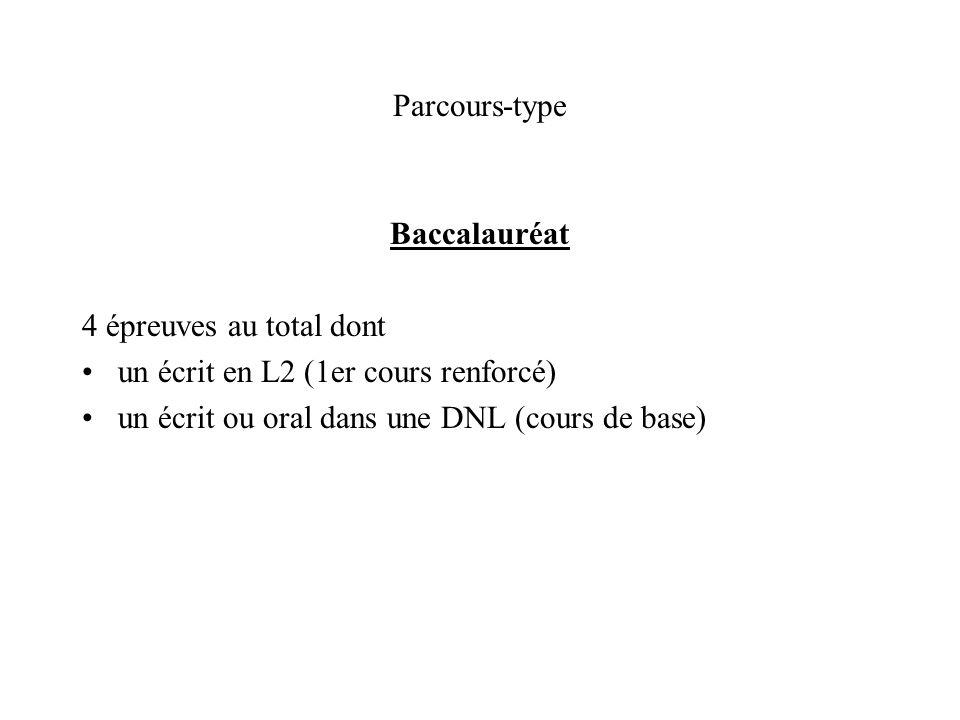 Parcours-type Baccalauréat 4 épreuves au total dont un écrit en L2 (1er cours renforcé) un écrit ou oral dans une DNL (cours de base)