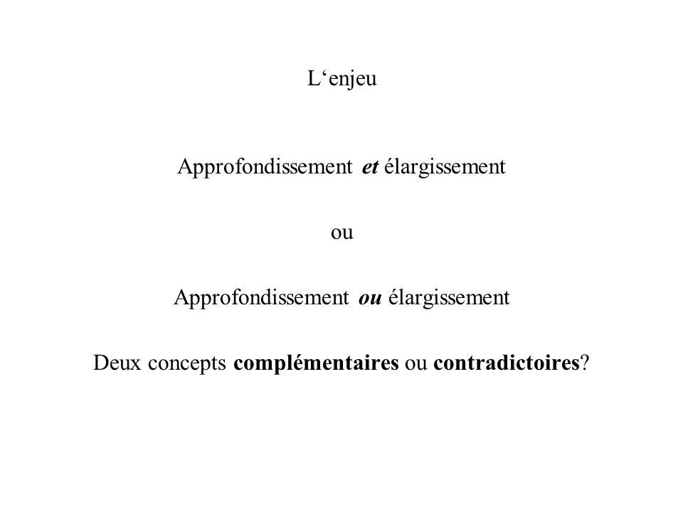 Lenjeu Approfondissement et élargissement ou Approfondissement ou élargissement Deux concepts complémentaires ou contradictoires?