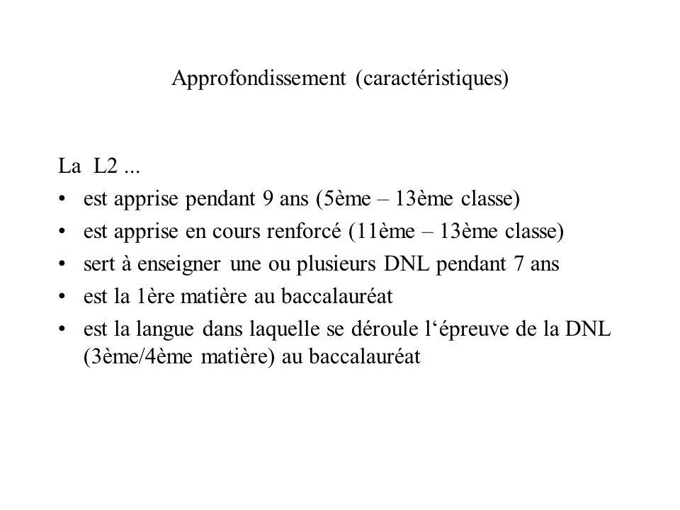 Approfondissement (caractéristiques) La L2... est apprise pendant 9 ans (5ème – 13ème classe) est apprise en cours renforcé (11ème – 13ème classe) ser