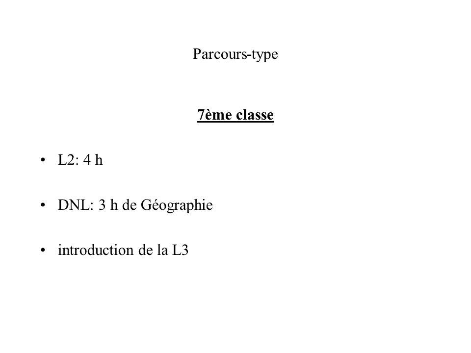 Parcours-type 7ème classe L2: 4 h DNL: 3 h de Géographie introduction de la L3
