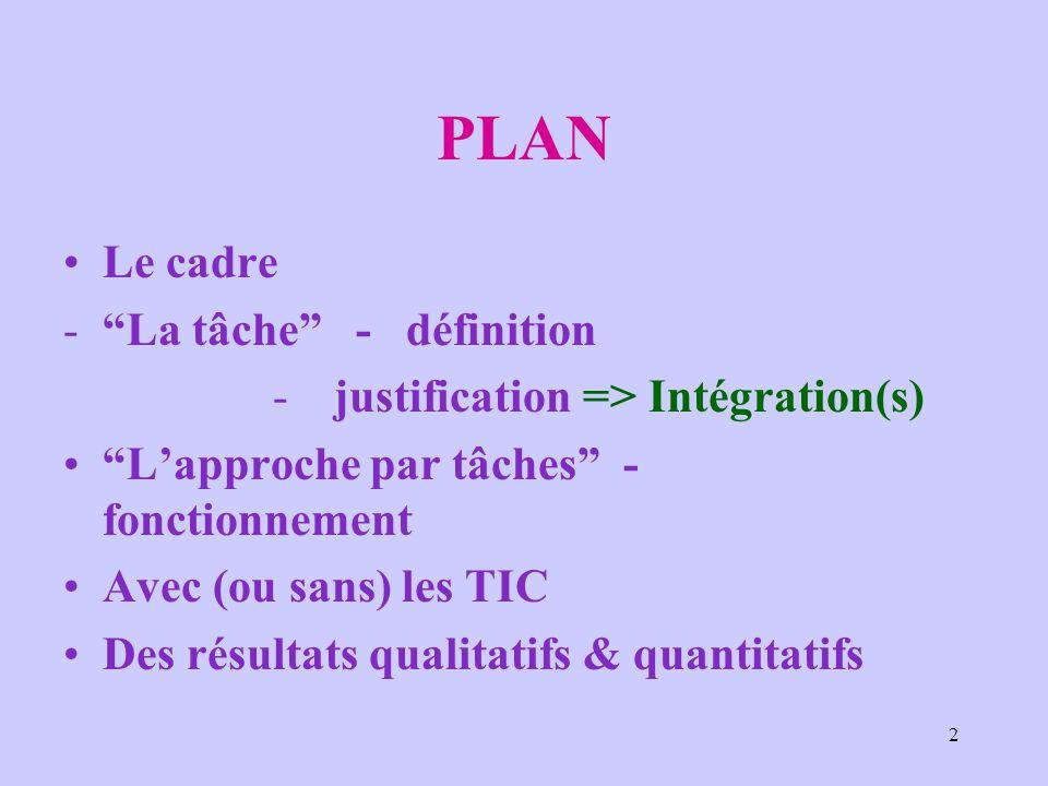 2 PLAN Le cadre La tâche - définition  justification => Intégration(s) Lapproche par tâches - fonctionnement Avec (ou sans) les TIC Des résultats qu