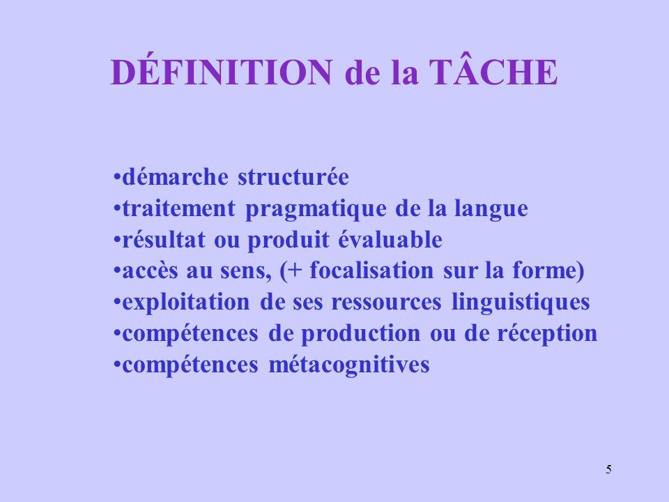 5 DÉFINITION de la TÂCHE démarche structurée traitement pragmatique de la langue résultat ou produit évaluable accès au sens, (+ focalisation sur la f