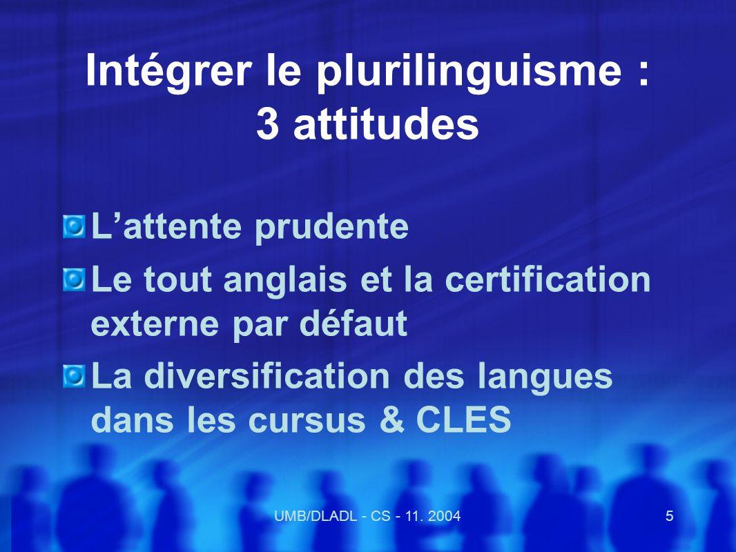 UMB/DLADL - CS - 11.20046 Légitimer la politique des langues à luniversité : 1.