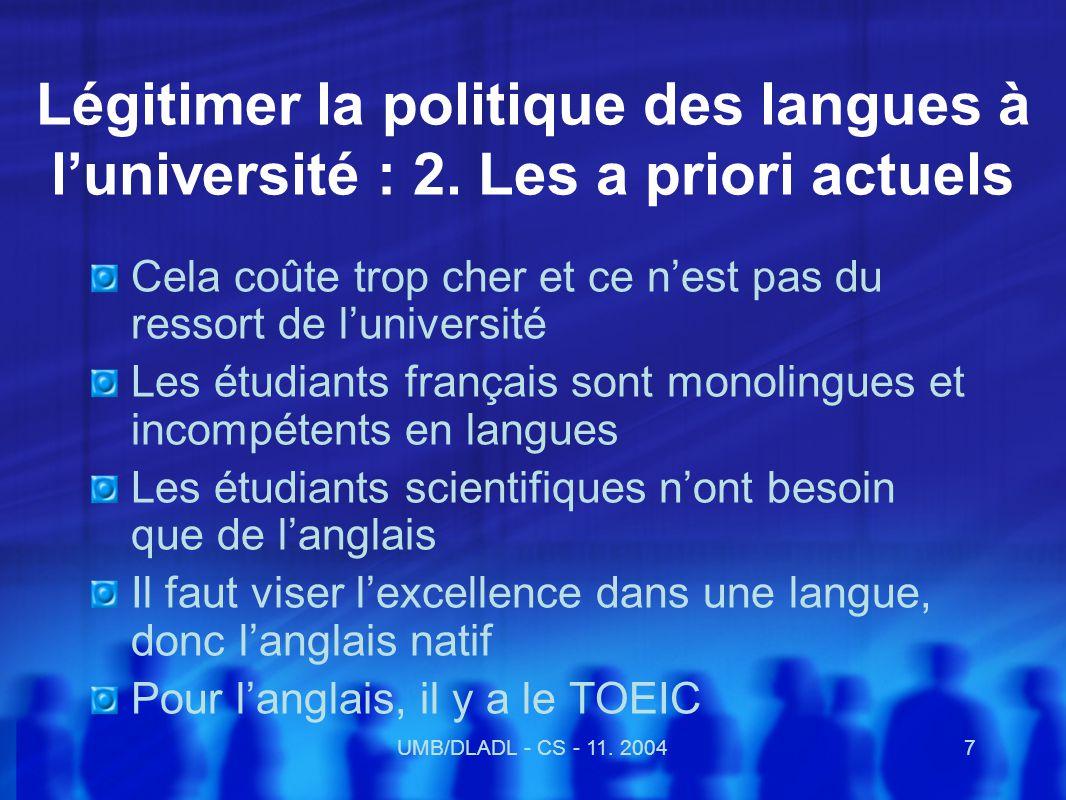UMB/DLADL - CS - 11.20048 Légitimer les langues : 3.