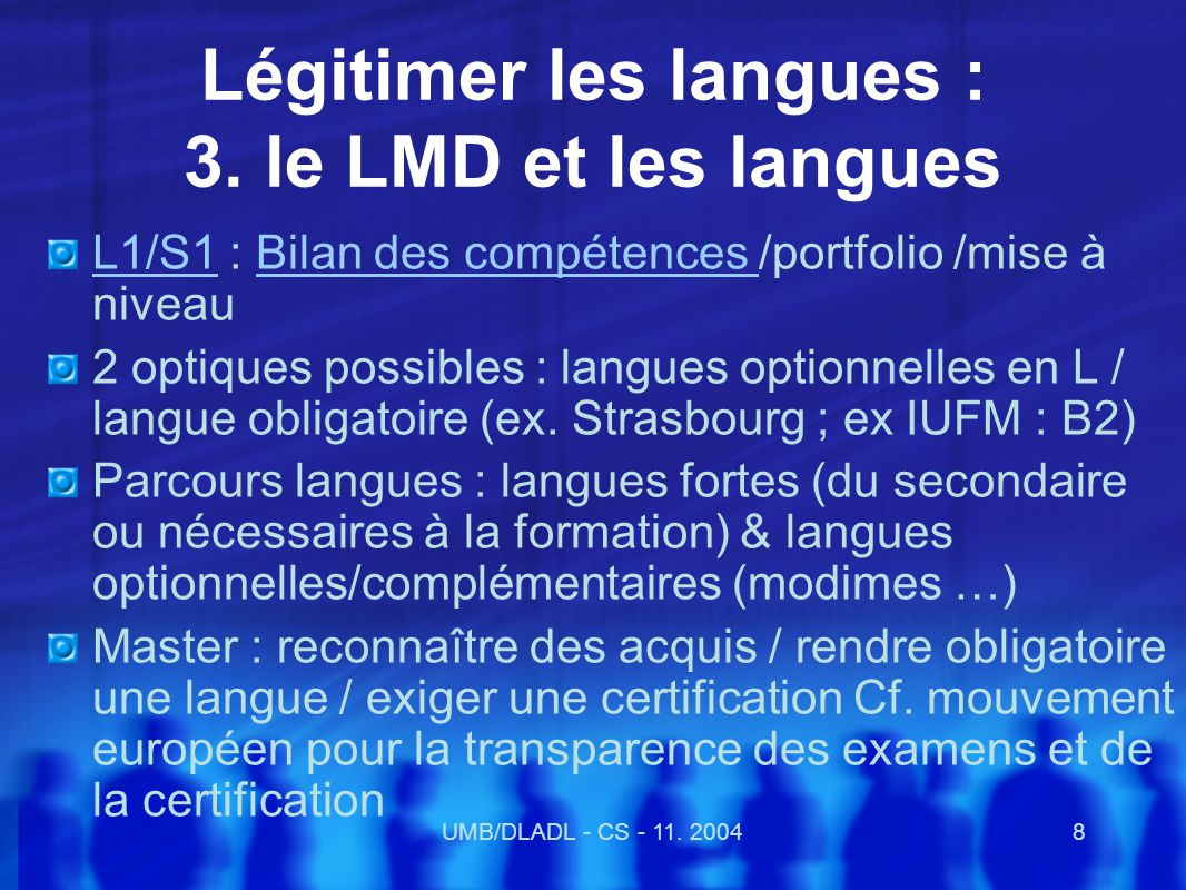 UMB/DLADL - CS - 11.200429 Propositions nationales BO 19 mai 2002 art.