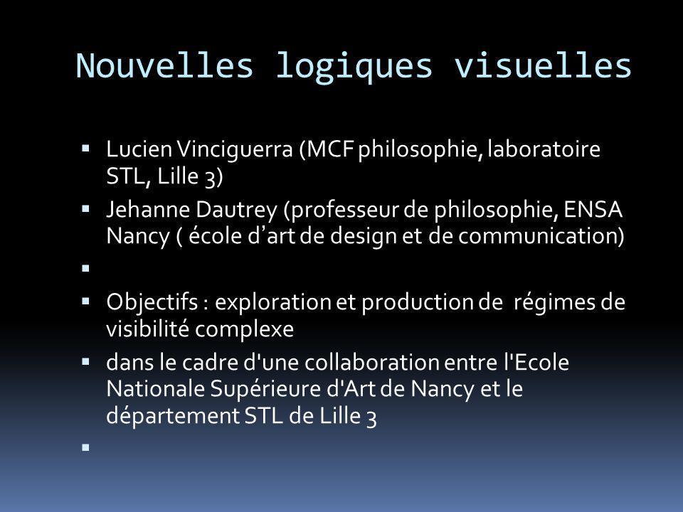 Nouvelles logiques visuelles Lucien Vinciguerra (MCF philosophie, laboratoire STL, Lille 3) Jehanne Dautrey (professeur de philosophie, ENSA Nancy ( é