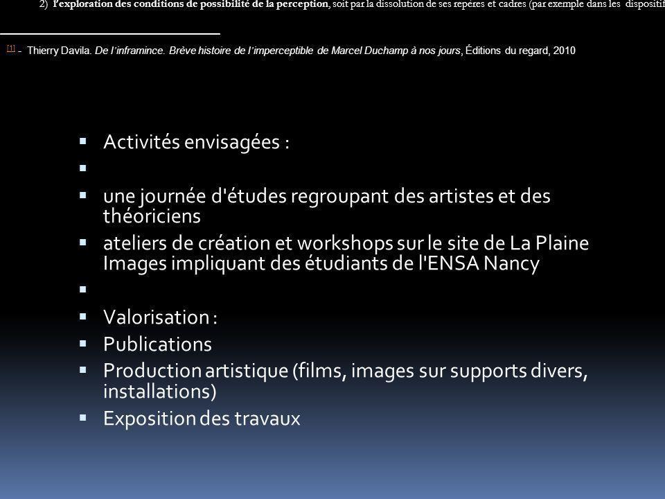 Activités envisagées : une journée d'études regroupant des artistes et des théoriciens ateliers de création et workshops sur le site de La Plaine Imag