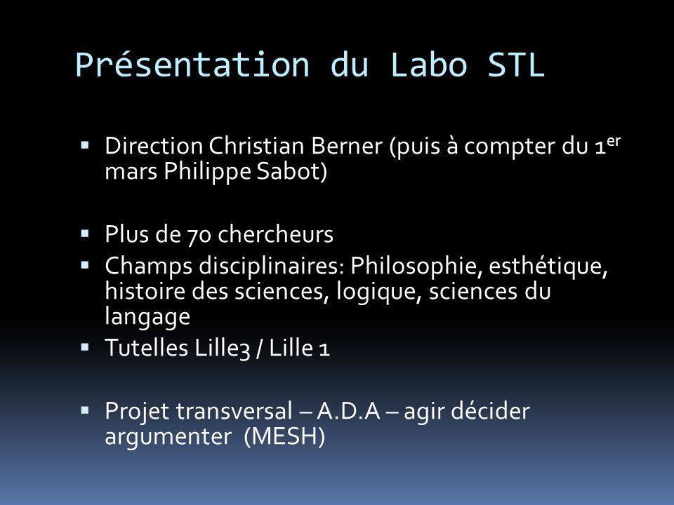 Présentation du Labo STL Direction Christian Berner (puis à compter du 1 er mars Philippe Sabot) Plus de 70 chercheurs Champs disciplinaires: Philosop