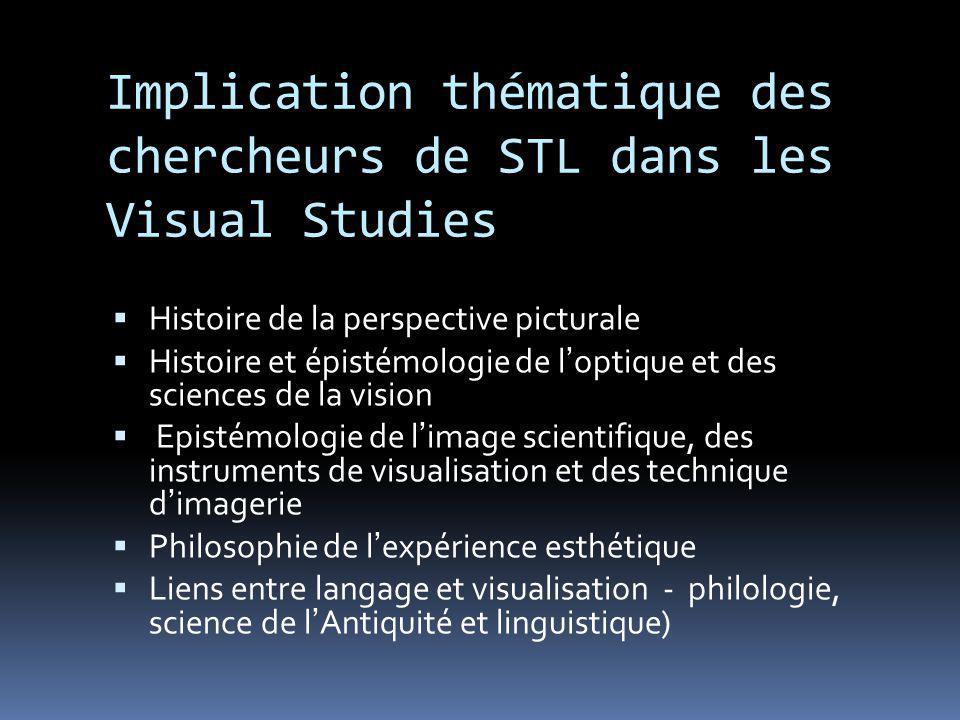 Implication thématique des chercheurs de STL dans les Visual Studies Histoire de la perspective picturale Histoire et épistémologie de loptique et des